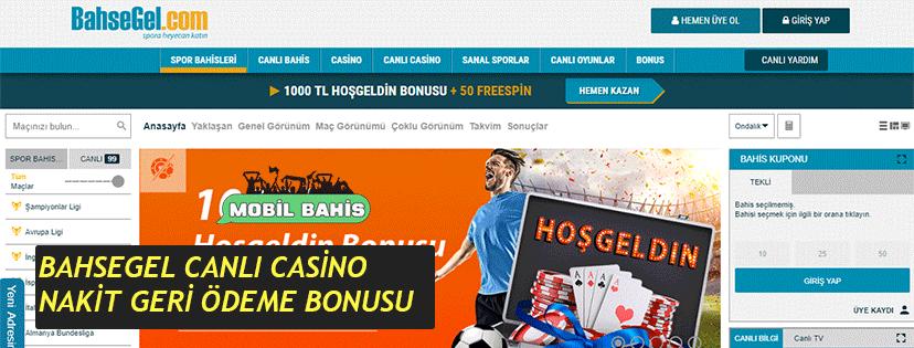 BahseGel Canlı Casino Nakit Geri Ödeme Bonusu
